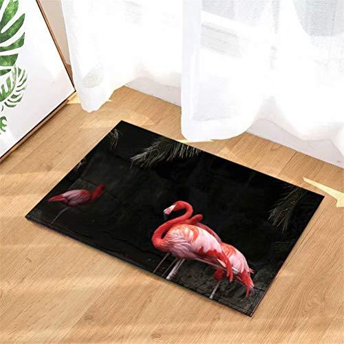 Flamenco Rojo. Alfombrilla Baño: 40X60Cm. Vellón De Coral. Absorbente Antideslizante. Alfombra De Felpudo para Ducha De Entrada Al Baño. Accesorios De Baño.
