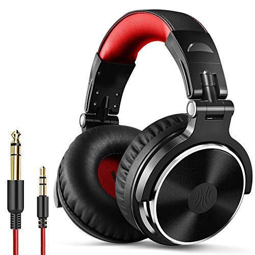 OneOdio Over Ear Headphone, Wired Bass Headsets with 50mm Driver, Foldable Lightweight Headphones with Shareport and Mic for Recording Monitoring Podcast Guitar PC TV - (PRO-10 Red)