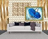 Fototapete 3d Effekt Tapete Abstrakte Geometrie Des Blauen Rosenfotos Tapete 3D Wandbilder Vliestapete Kinderzimmer Schlafzimmer Wohnzimmer Tapeten Wallpaper Wanddeko 150cmx105cm