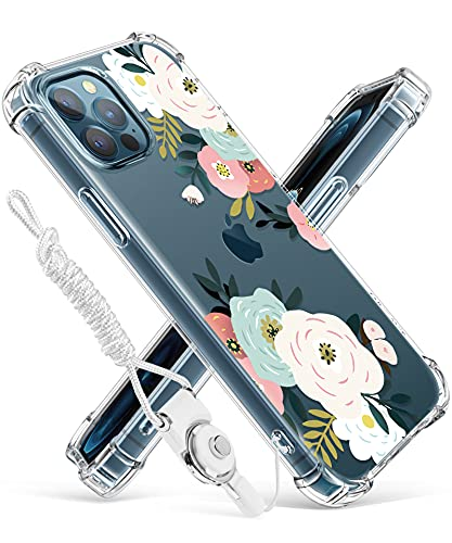 GVIEWIN Designed for iPhone 12 Pro Max Case 6.7 Inch 2020, Clear Floral Women Thin Soft TPU Shockproof Protective Cover Flowers Design Case with Lanyard (Abundant Blossom/White)