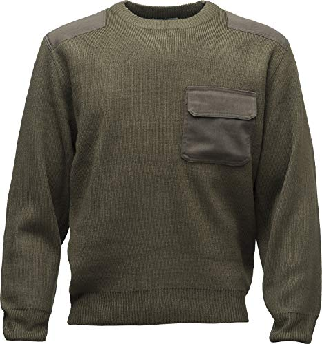 Baddery Bundeswehr-Pullover - Strickpullover für Herren & Damen Mann Männer Frau-en - Geschenk Jäger Jagd Marine Outdoor BW Security Army Oliv-Grün Tarn Militär Sweatshirt Warm Winter Soldat (Army M)