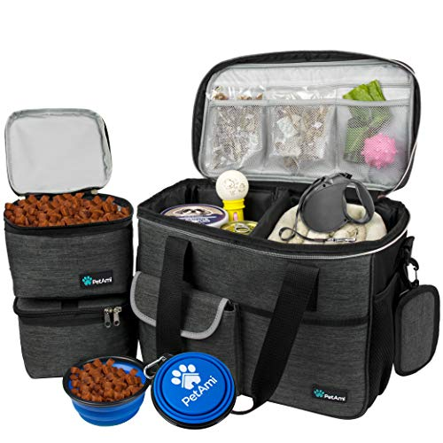 PetAmi Dog Travel Bag | Airline Approved Tote Organizer with Multi-Function Pockets, Food Container Bag and Collapsible Bowl | Perfect Weekend Pet Travel Set for Dog, Cat (Charcoal, Small)