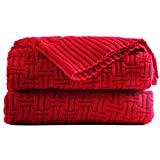 Cable Knitted Throw Blanket Couch Cover Blanket Soft Lightweight Blanket Comfortable Home Decorative Red