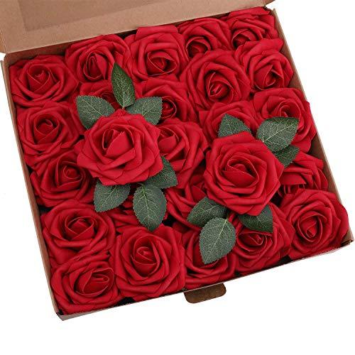 Ruiuzioong Künstliche 25 Stück Rosen Blumen Schaumrosen Foamrosen Kunstblumen Rosenköpfe Gefälschte Kunstrose Rose für Hochzeit Blumensträuße Braut Zuhause Dekoration (Weinrot, 25 Stück)
