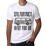 Hombre Camiseta Vintage T-Shirt Gráfico Salamanca Wait For Me Blanco