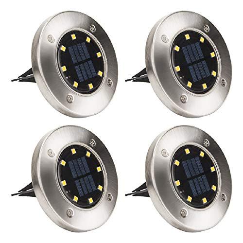 Solpex - Luces solares de 8 luces LED para caminos al aire libre, impermeables, para jardín, terraza, césped, patio, pasarelas, color blanco cálido (4 unidades)