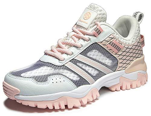 Eagsouni Laufschuhe Herren Damen Traillaufschuhe Sportschuhe Turnschuhe Sneakers Schuhe für Outdoor Fitnessschuhe Joggingschuhe Straßenlaufschuhe, Pink B, 40 EU