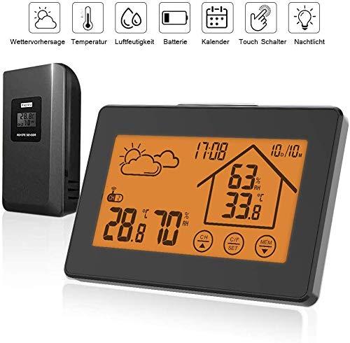 TEKFUN Wetterstation Funk mit Außensensor, Digital Thermometer Hygrometer Innen und Außen Raumthermometer Hydrometer Feuchtigkeit mit Wettervorhersage, Uhrzeitanzeige, Wecker und Nachtlicht(5)