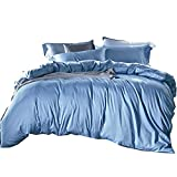 Cobahom Duvet Cover Robin Egg Lake Light Blue Bedding Sets Solid Color Piece...