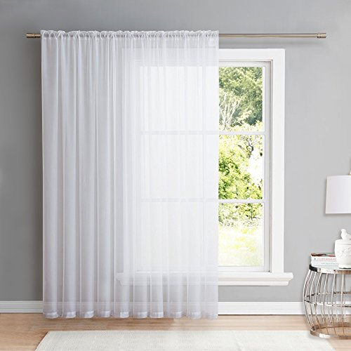 NICETOWN Extra Wide Patio Sheer Curtain - Rod Pocket Voile Textured Sheer Panel for Porch/Sliding Glass Door (1 Piece, W100 x L95, White)