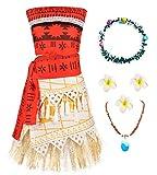 O.AMBW Disfraz de Moana Cosplay Princesa Vaiana Vestido Hawaiana Mar Adventura Conjunto de 2 Piezas Top + Falda Ropa para niños Disfraz con Accesorios Diadema Horquilla Collar de Moana Regalo