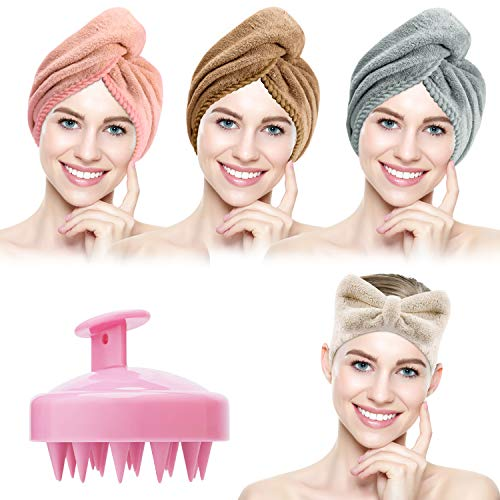 3 Pack Hair Towel Wrap with Hair Shampoo Brush and Headband, Suntee Microfiber Super Absorbent Hair Drying Turban Towel, Quick Drying Hair Towel Wraps for Women Curly, Long & Thick Hair