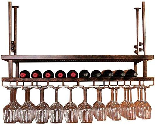 Estante de vino de metal estante de vino colgante estante de pared soporte de botella de vino - estante de vino colgante, estante de copa de vino invertido, para decoración de barBronze||100cm x 30 cm