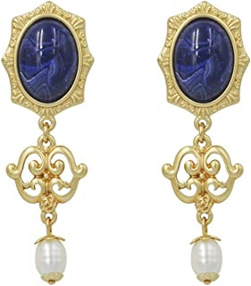 Long Dangle Drop Earrings Halloween costume jewelry for Women Vintage Dark Blue Stone Evil Eyes with Gold Plated for Halloween Party Girlfriend Mother Gift