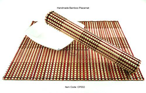 4 faite à la main Grosse en bambou Sets de table, sets de table, Lot de 4, Pink-cream, Cp0002