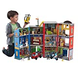 KidKraft Everyday Heroes Wooden Playset, 3-Story with 35-Piece Accessories, Foldable for Storage, Gift for Ages 3+