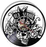 Vinyl Record Wall Clock Hanging Night Lamp Quartz Silent Skull tattoo Modern film Quartz Remote Backlight CD Design Home Decor for Kid Friend adult 12 Inch- With LED-12inch_No_Led