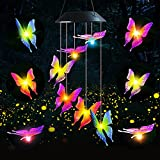 ZHUPIG Solar Wind Chimes, Color Changing Wind Chimes for Outside, Six Waterproof Solar Butterfly Wind Chimes, Indoor & Outdoor Hanging Decorations for Patio, Garden, Yard, Porch (Maple Leaf Red)