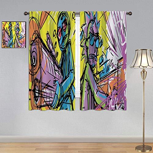 ARYAGO Cortinas opacas de Rick y Morty, cortinas de eficiencia energética de Run the Jewels para dormitorio/sala de estar de 84 x 84 pulgadas