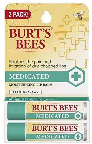 Burt's Bees 100% Natural Medicated Moisturizing Lip Balm with Menthol & Eucalyptus - 2 Tubes