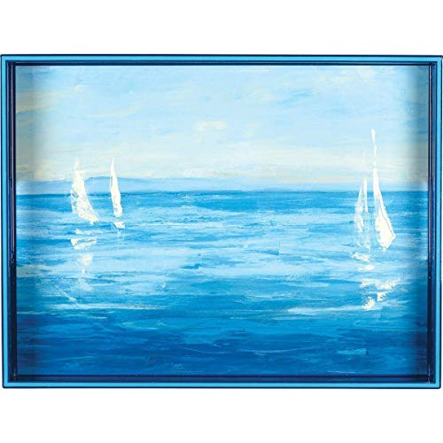 rockflowerpaper Open Sail Blue 15 x 20 inch Rectangular Decorative Lacquer Large Art Serving Tray