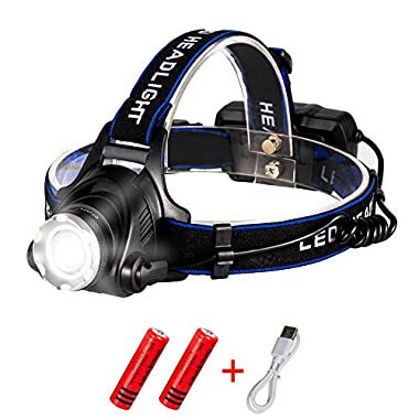 Snorda led flashlight, Rechargeable Headlamp 1800 lumens Headlight Flashlight 3 Modes with Adjustable Thick Head Strap for Camping Hiking Fishing BBQ Repairing Night Walking Morning Running. (Black)