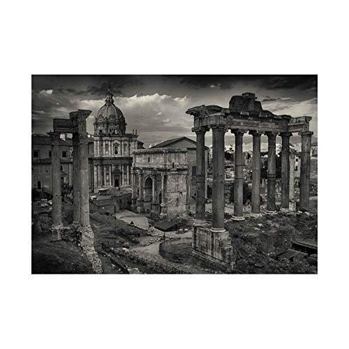 PHOTO CITYSCAPE ROME ITALY ROMAN FORUM RUIN BLACK FRAMED ART PRINT B12X13034