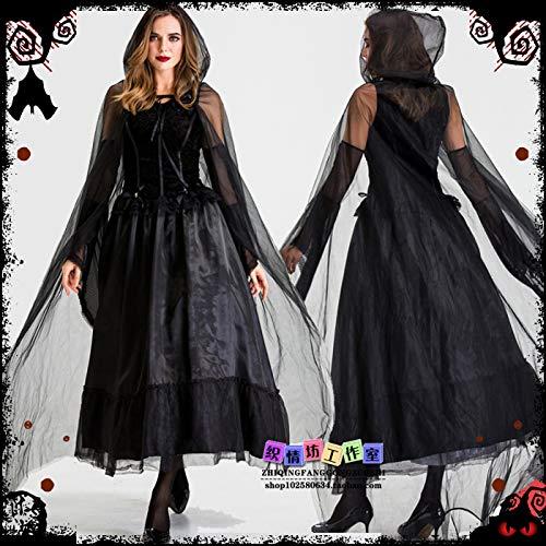 WSJDE Disfraz de Cosplay de Halloween Night Stray Soul Disfraz de Fantasma Femenino Disfraz de Bruja Vestido de fregona de Gasa Negra Vestido Negro S
