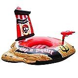 PIRATE BARCO PISCINA PISCINA FLOAT - Flotador de la piscina del barco de pirata inflable para los niños con arma de chorro incorporado / barco pirata con la acción Squirter Piscina Flotador Paseo para