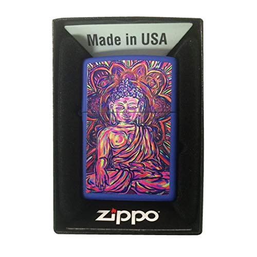 Zippo Custom Lighter - Blue Matte Buddha Vivid Colors Painting Statue