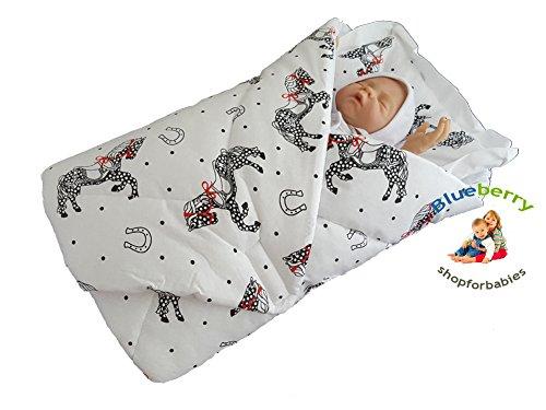 BlueberryShop Katoen Baby Swaddle Wrap Beddeken met Kussen | Slaapzak voor Pasgeborenen | Bestemd voor Kinderen 0-3 Maanden | Perfect als Baby Douche Gift | 78 x 78 cm | Wit Paard