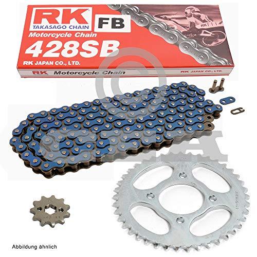 Ensemble chaine Hyosung GT 125 03–13, chaîne RK CG 428 FB 140, ouvert, bleu, 14/52
