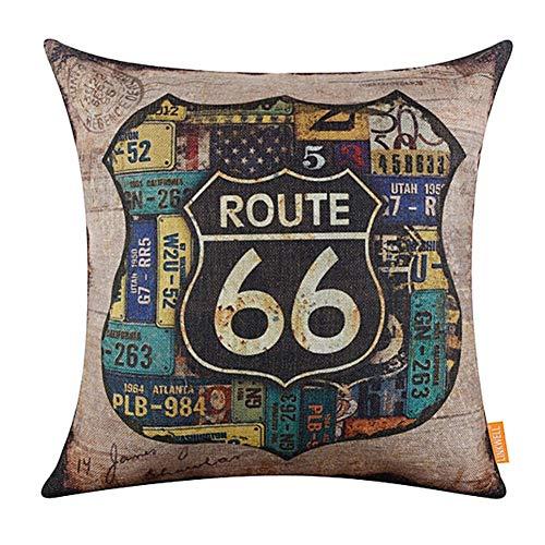 floatofly Throw Cushion Fundas De Almohada Funda De Almohada Cuadrada, Vintage American Map Route 66 Funda De Almohada De Lino Funda De Cojín Sofá Cama Decoración De Coche 2