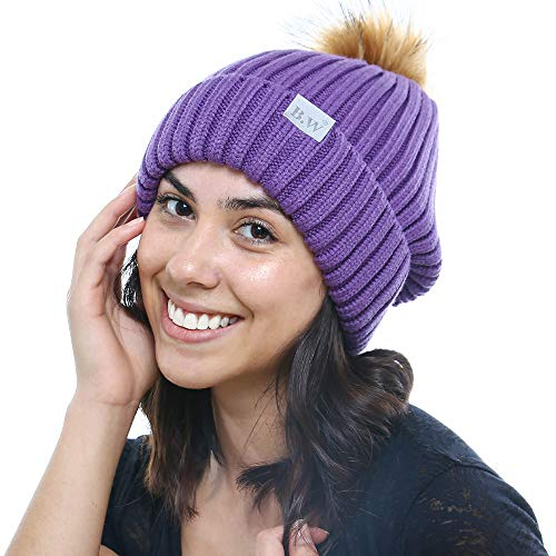 Beautifully Warm Women's Winter Hat with Pom Pom | Slouchy Beanie Satin Lined Hat for Women (Ultra Violet)