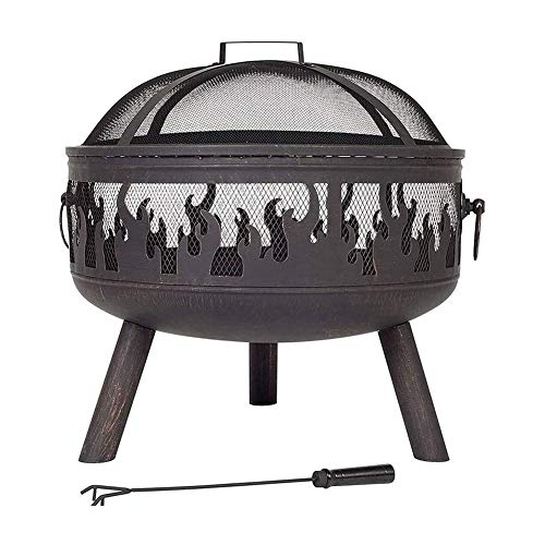 Great Deal! JIACTOP Fire Pit with BBQ Grill Shelf, Outdoor Metal Brazier, Garden Patio Heater/BBQ/Ic...