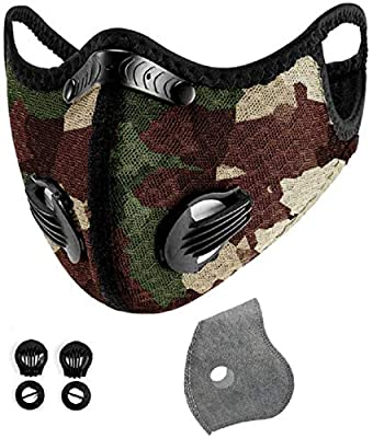 With 12 activated carbon filters, 8 filter valves, unisex, interchangeable, suitable for cycling, running, outdoor sports, black breathable ear hooks and tobacco powder (camouflage) from yachen