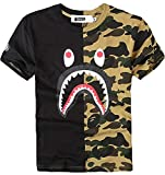 Juniors Casual Fashion Crewneck T Shirt Shark Camo Tees Tops for Teens (US Small=Tag Size M, Black)