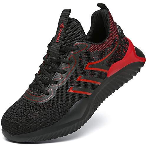 UCAYALI Zapatos de Seguridad Hombre Anti-Piercing Zapatos de Trabajo Punta de Acero Antideslizante Calzado Seguridad Deportivo Rojo Gr.43
