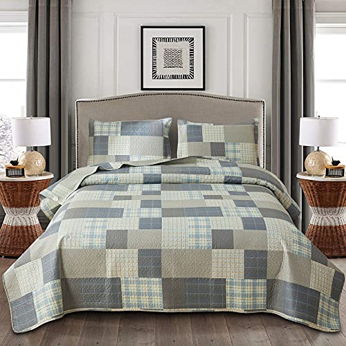 Grey Blue Yellow Bedding Plaid Quilt King Size Summer Patchwork Quilts Lightweight Soft Breathable Check Bedspread Gingham Bedding Checker Pattern Coverlet Bed Cover Set Geometric Home Decor