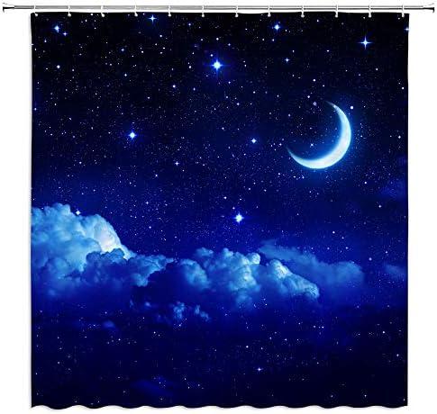 AMFD Moon Starry Shower Curtain Fantasy Night Sky Cloud Galaxy Romantic Starry Dark Blue Navy product image