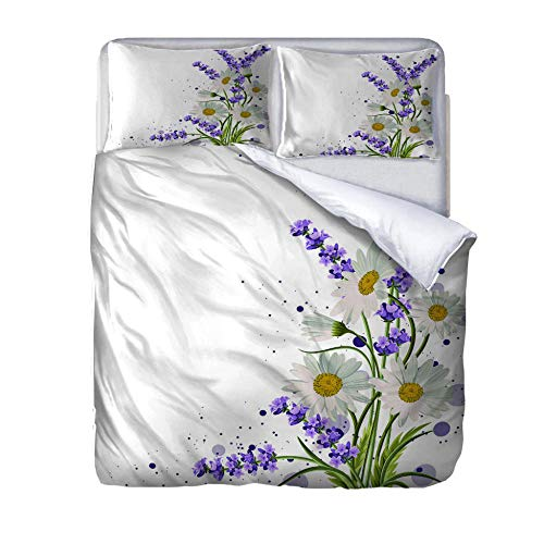 zzqxx Home Single Duvet Quilt Cover Printed flower Bedding Set 100% Polyester Zippered Revrsible Duvet Cover with 2 Pillowcases Ultra Soft 55.1 x 78.7 inch