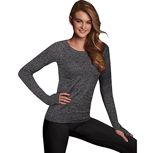 Maidenform Women's Seamless Sport Baselayer Thermal Crewneck Top, Charcoal Grey Heather, Small
