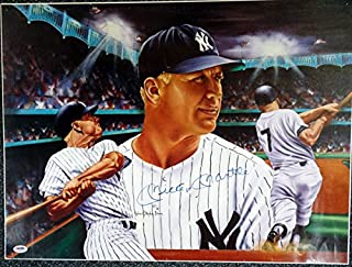 Mickey Mantle Autographed 18x24 Lithograph Photo New York Yankees PSA/DNA #AA01903