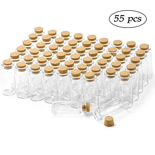 Wandefol 55 Stück Glasfläschchen mit Korken mini Glasflaschen 10ml (5cm x 2cm) Klein Glasflaschen Fläschchen mit Korkenverschluss Hochzeitseinladung, Schmuck DIY Projekte, Bastel