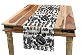 Ambesonne Modern Table Runner, Coffee Beans with Ornamental Words Ethiopians Pattern, Dining Room Kitchen Rectangular Runner, 16' X 90', Sand Brown Black and Grey