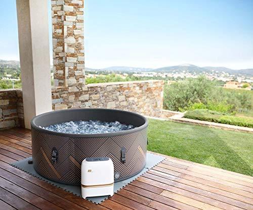 SHATCHI MSPA Concept Mono DWF Bubble Spa 6 Bañeros de hidromasaje portátil de calentamiento rápido autoinflado redondo, 930 litros, 173 m x 65 cm, negro/oro rosa