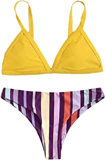 SDCSQ Bikini Women Casual Bikini Set Underwire Padded Sexy Beach Striped Printing Two Piece Swimwear