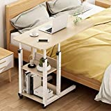 Adjustable Bedside Table Tray, Overbed Table with Wheels Heavy-Duty Movable Couch Sofa End with 2 Compartment Display Bookcase, C Shaped Mobile Laptop Stands (Color : D, Size : 80x40cm)