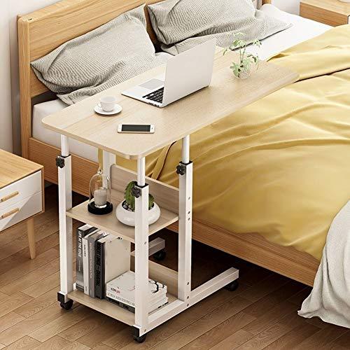 Altezza Regolabile Laptop Desk Carrello Portatile Vassoio Tavolino con 2 Ripiani di Stoccaggio E 4 Ruote, Pigro Comodino Scrivania da Tavolo for Divano Letto (Color : B, Size : 80x40cm)