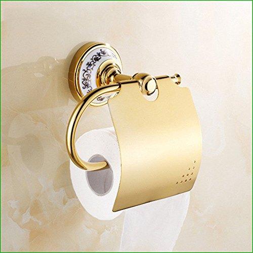 LHbox Tap Kupfer vergoldet Toilettenpapier Handtuchhalter Doppel Schale Seife Kleiderhaken hängen in Bad Suite, Toilettenpapierhalter